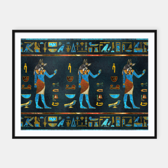 Anubis Egyptian Gold, Blue and Red glass Framed poster thumbnail image