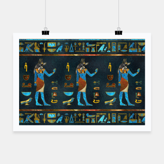 Anubis Egyptian Gold, Blue and Red glass Poster thumbnail image