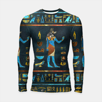 Anubis Egyptian Gold, Blue and Red glass Longsleeve rashguard  thumbnail image