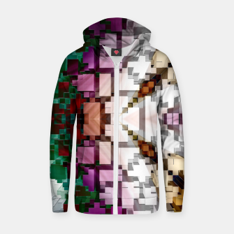 Thumbnail image of Cuboid Pyramid Side Cotton zip up hoodie, Live Heroes