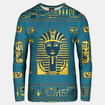 Thumbnail image of Gold Sphinx head with Egyptian hieroglyphs on blue leather Cotton sweater, Live Heroes