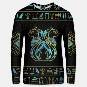 Thumbnail image of Egyptian Cats Gold and blue stained glass Cotton sweater, Live Heroes