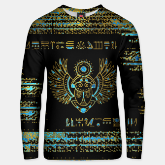 Thumbnail image of Egyptian Scarab Beetle Gold and blue stained glass Cotton sweater, Live Heroes