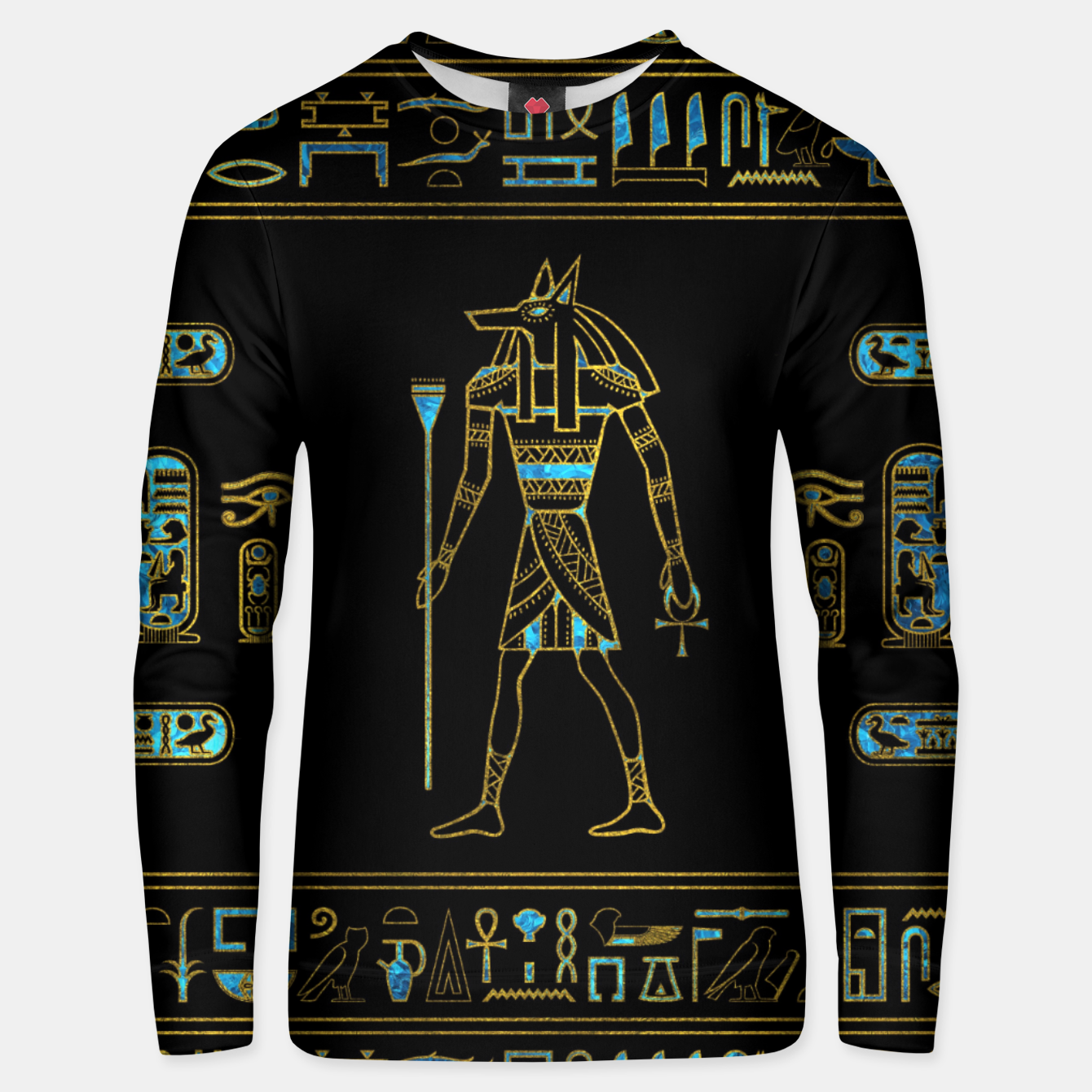 Image of Anubis Egyptian  Gold and blue stained glass Cotton sweater - Live Heroes