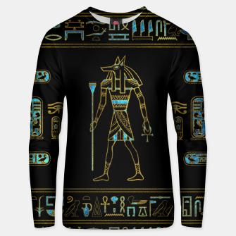 Thumbnail image of Anubis Egyptian  Gold and blue stained glass Cotton sweater, Live Heroes