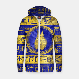 Golden Anubis  with hieroglyphs on blue Cotton zip up hoodie thumbnail image