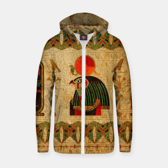 Thumbnail image of Egyptian Horus Ornament on Papyrus Cotton zip up hoodie, Live Heroes