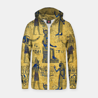 Thumbnail image of Vintage Egyptian Ornament with Lapiz Lazuli Cotton zip up hoodie, Live Heroes