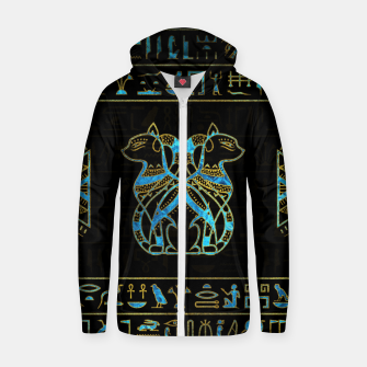 Thumbnail image of Egyptian Cats Gold and blue stained glass Cotton zip up hoodie, Live Heroes