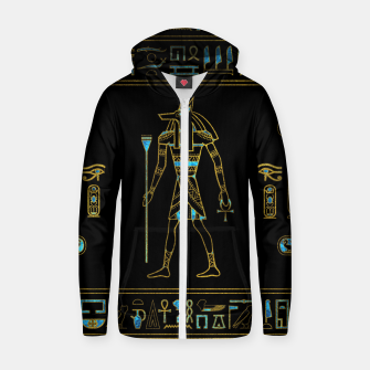 Thumbnail image of Anubis Egyptian  Gold and blue stained glass Cotton zip up hoodie, Live Heroes