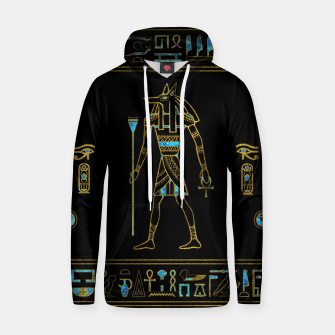 Thumbnail image of Anubis Egyptian  Gold and blue stained glass Cotton hoodie, Live Heroes