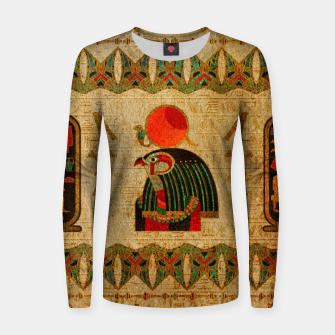 Thumbnail image of Egyptian Horus Ornament on Papyrus Woman cotton sweater, Live Heroes