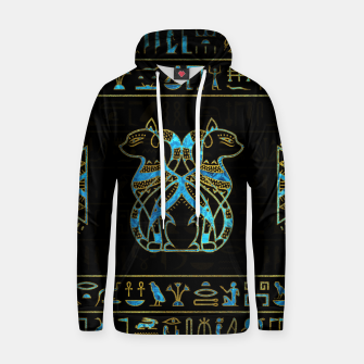 Thumbnail image of Egyptian Cats Gold and blue stained glass Cotton hoodie, Live Heroes