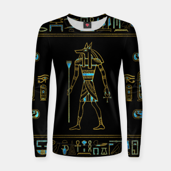 Thumbnail image of Anubis Egyptian  Gold and blue stained glass Woman cotton sweater, Live Heroes