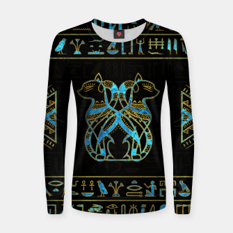 Thumbnail image of Egyptian Cats Gold and blue stained glass Woman cotton sweater, Live Heroes