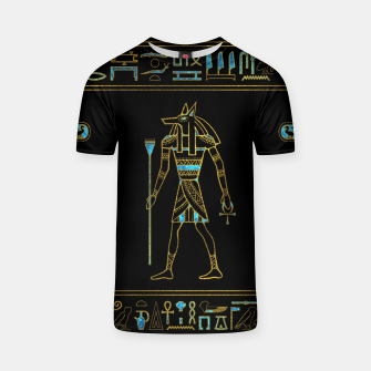 Thumbnail image of Anubis Egyptian  Gold and blue stained glass T-shirt, Live Heroes