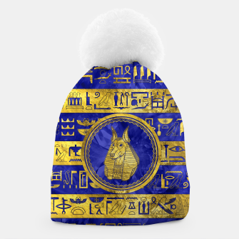 Golden Anubis  with hieroglyphs on blue Beanie thumbnail image