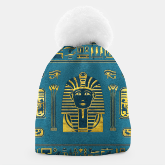 Thumbnail image of Gold Sphinx head with Egyptian hieroglyphs on blue leather Beanie, Live Heroes