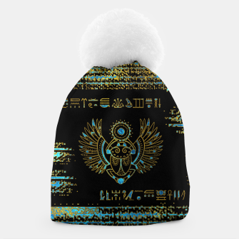 Thumbnail image of Egyptian Scarab Beetle Gold and blue stained glass Beanie, Live Heroes