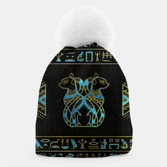 Thumbnail image of Egyptian Cats Gold and blue stained glass Beanie, Live Heroes