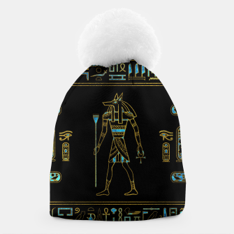 Anubis Egyptian  Gold and blue stained glass Beanie thumbnail image