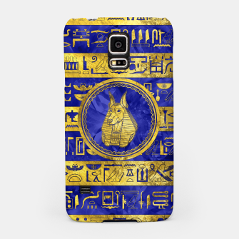 Thumbnail image of Golden Anubis  with hieroglyphs on blue Samsung Case, Live Heroes