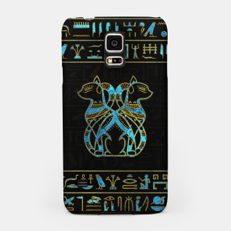 Thumbnail image of Egyptian Cats Gold and blue stained glass Samsung Case, Live Heroes