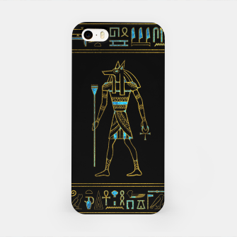 Anubis Egyptian  Gold and blue stained glass iPhone Case thumbnail image