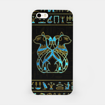 Thumbnail image of Egyptian Cats Gold and blue stained glass iPhone Case, Live Heroes