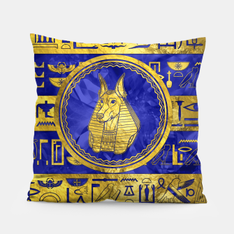Golden Anubis  with hieroglyphs on blue Pillow thumbnail image