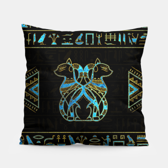Thumbnail image of Egyptian Cats Gold and blue stained glass Pillow, Live Heroes