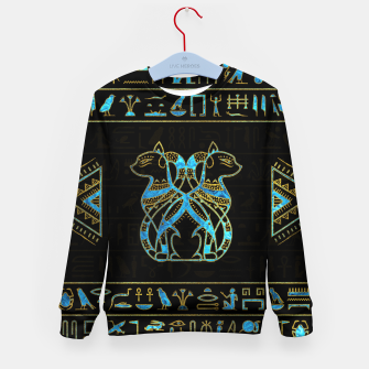 Thumbnail image of Egyptian Cats Gold and blue stained glass Kid's sweater, Live Heroes