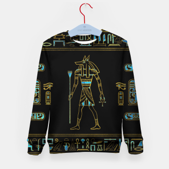 Thumbnail image of Anubis Egyptian  Gold and blue stained glass Kid's sweater, Live Heroes