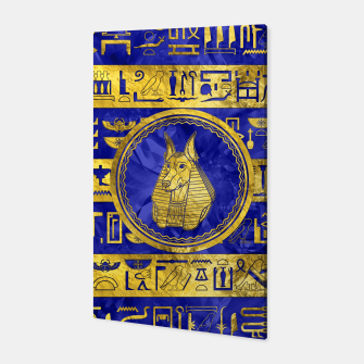 Golden Anubis  with hieroglyphs on blue Canvas thumbnail image
