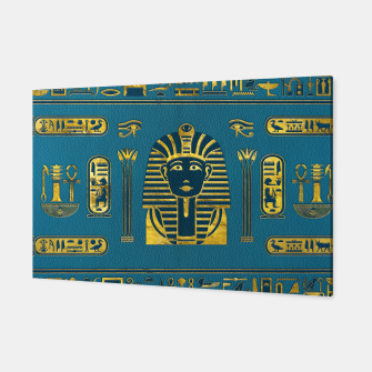 Miniatur Gold Sphinx head with Egyptian hieroglyphs on blue leather Canvas, Live Heroes