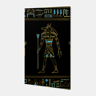 Miniatur Anubis Egyptian  Gold and blue stained glass Canvas, Live Heroes