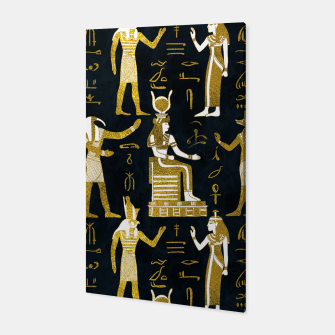 Miniatur Egyptian Gods Gold and white on dark glass Canvas, Live Heroes