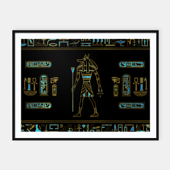 Thumbnail image of Anubis Egyptian  Gold and blue stained glass Framed poster, Live Heroes