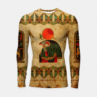 Thumbnail image of Egyptian Horus Ornament on Papyrus Longsleeve rashguard , Live Heroes