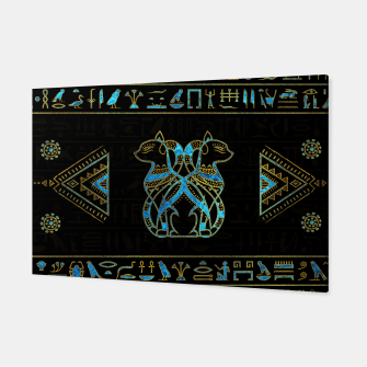 Thumbnail image of Egyptian Cats Gold and blue stained glass Canvas, Live Heroes