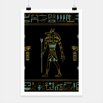 Anubis Egyptian  Gold and blue stained glass Poster thumbnail image
