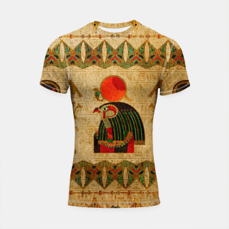 Thumbnail image of Egyptian Horus Ornament on Papyrus Shortsleeve rashguard, Live Heroes