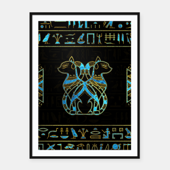 Thumbnail image of Egyptian Cats Gold and blue stained glass Framed poster, Live Heroes