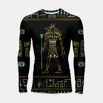 Thumbnail image of Anubis Egyptian  Gold and blue stained glass Longsleeve rashguard , Live Heroes