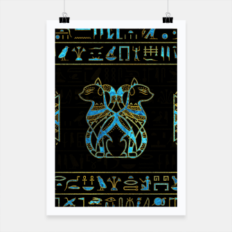 Thumbnail image of Egyptian Cats Gold and blue stained glass Poster, Live Heroes