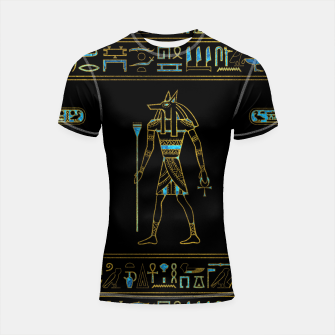 Thumbnail image of Anubis Egyptian  Gold and blue stained glass Shortsleeve rashguard, Live Heroes