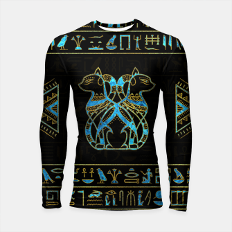 Thumbnail image of Egyptian Cats Gold and blue stained glass Longsleeve rashguard , Live Heroes