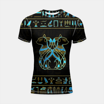 Thumbnail image of Egyptian Cats Gold and blue stained glass Shortsleeve rashguard, Live Heroes
