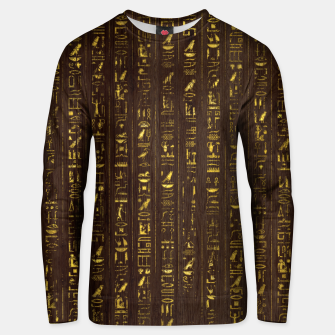 Thumbnail image of Golden Egyptian  hieroglyphics on wood Cotton sweater, Live Heroes