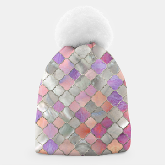 Thumbnail image of Quatrefoil Moroccan Pattern Pearl and quartz Beanie, Live Heroes